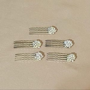 Set of 5 Silver & Glass Hair Pins